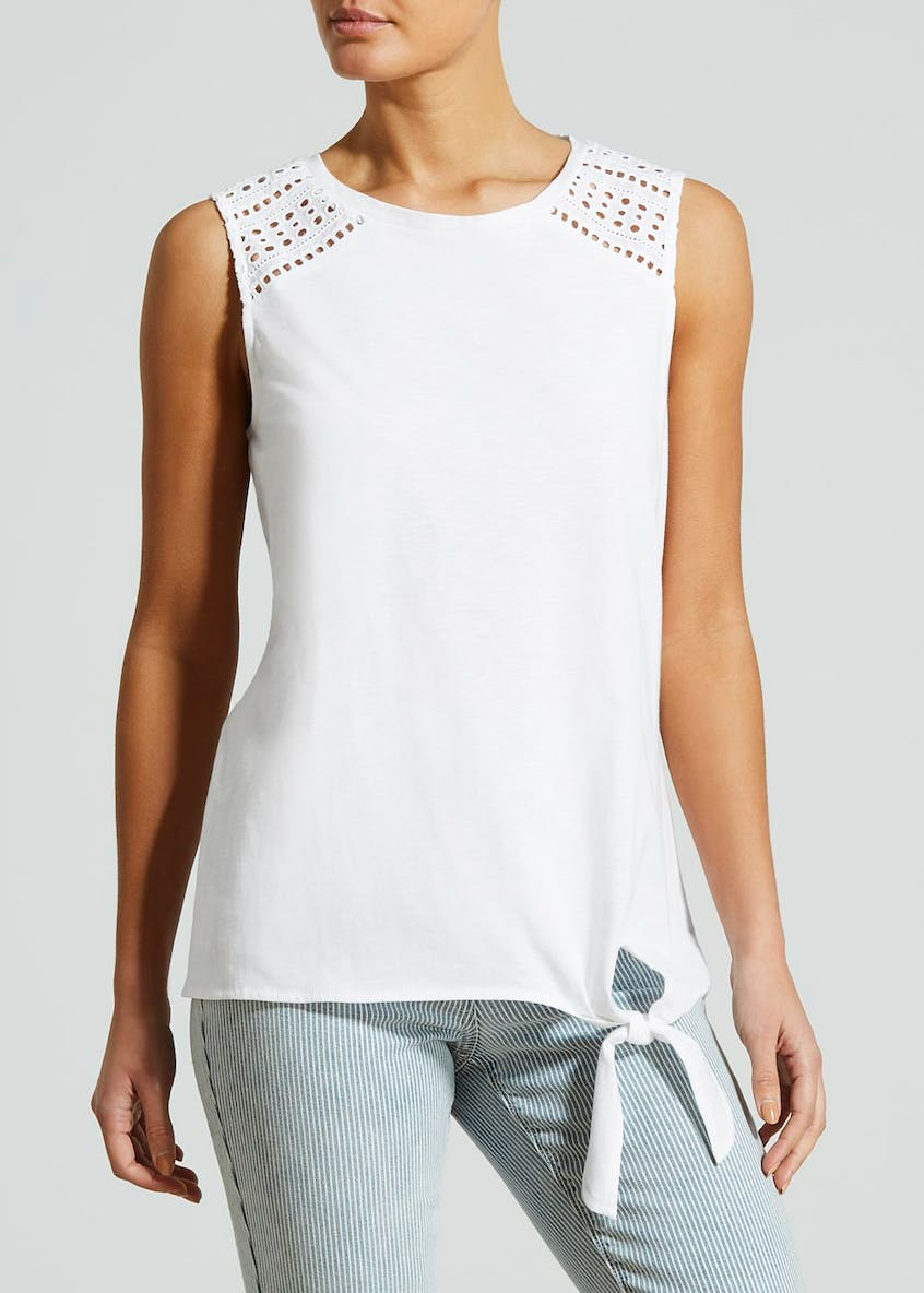 Tie Front Lace Shoulder Vest