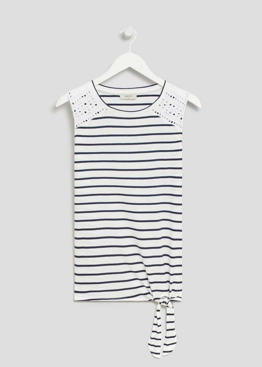 Stripe Tie Front Lace Shoulder Vest