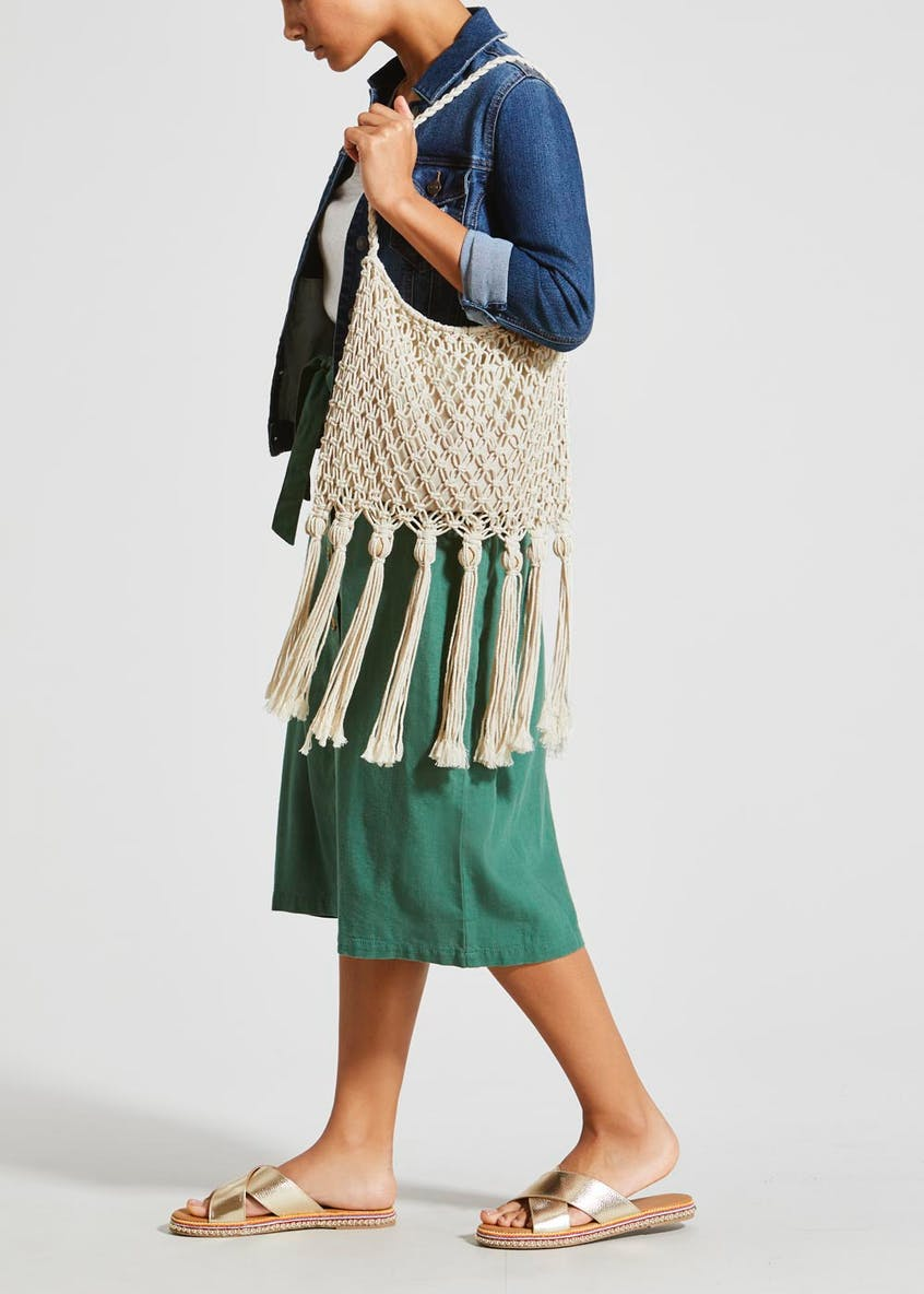 Tassel Crochet Cross-Body Bag