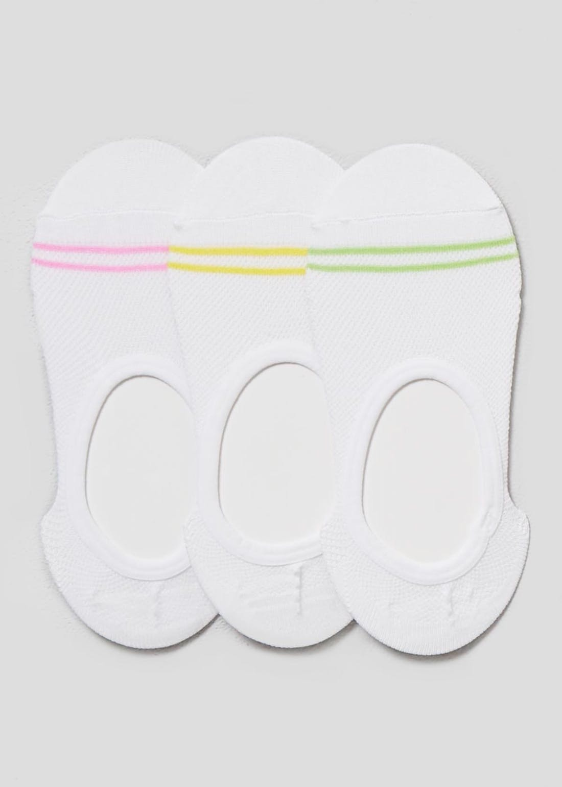 3 Pack Neon Invisible Trainer Socks