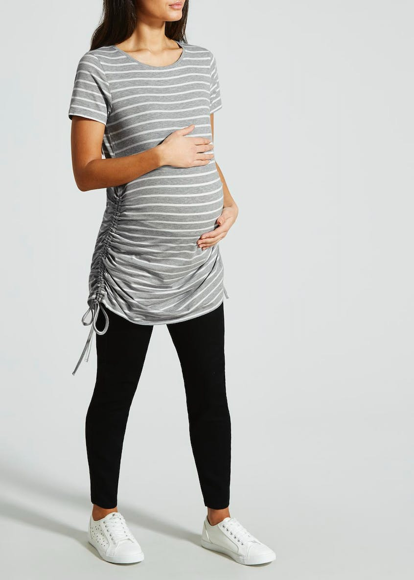 Maternity Stripe Ruched Side Dress & T-Shirt