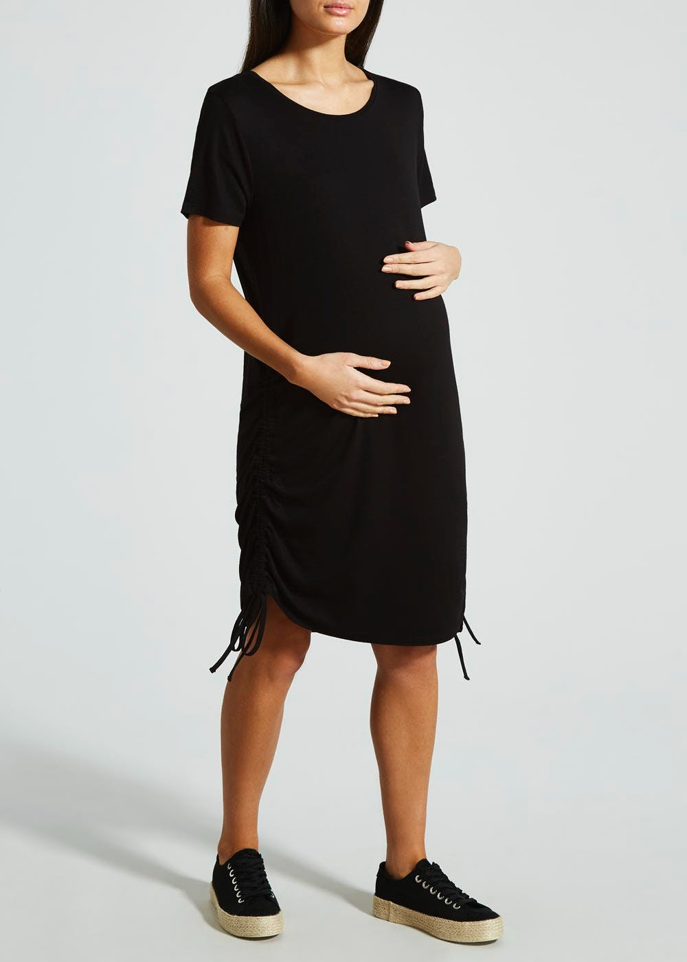 1ffa6bab14583 Maternity Stripe Ruched Side Dress & T-Shirt – Black – Matalan