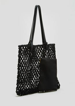 Knitted Shopper Bag with Pouch