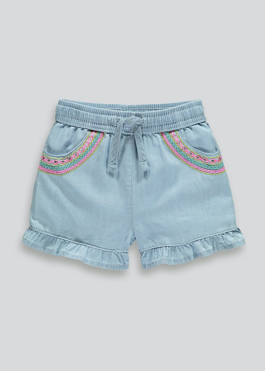 Girls Embroidered Denim Shorts (9mths-6yrs)