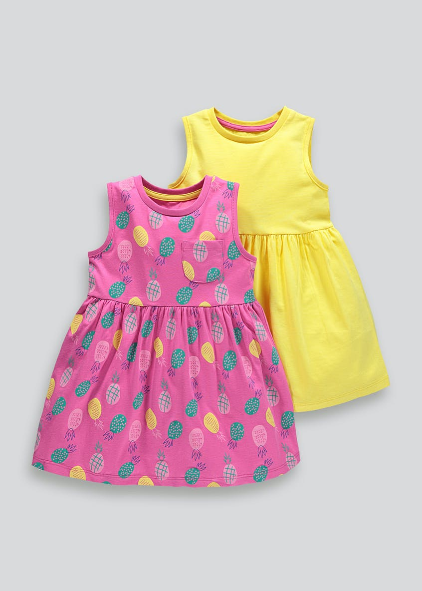 Girls 2 Pack Jersey Dresses (9mths-6yrs)