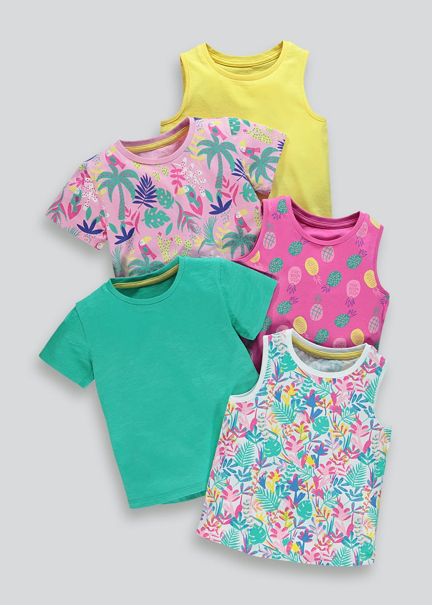 Girls 5 Pack T-Shirt & Vest Set (9mths-6yrs)