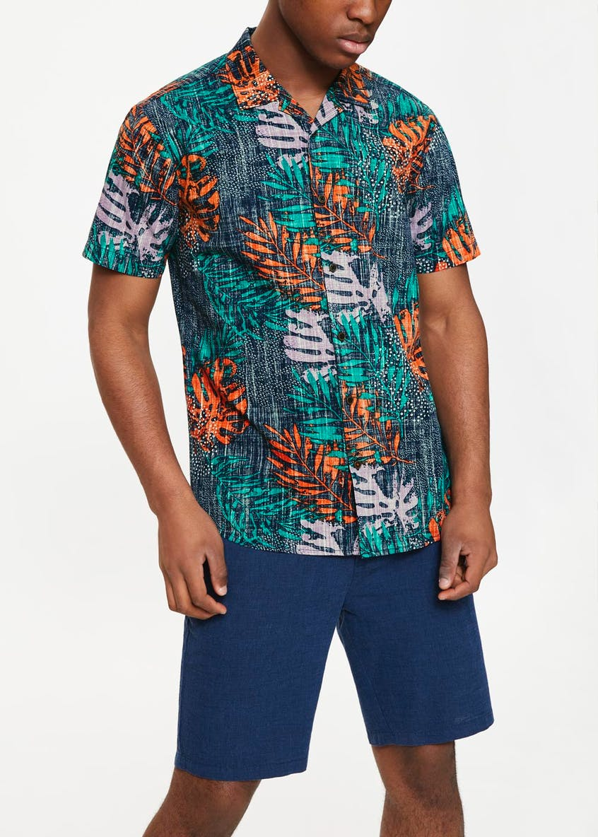 Short Sleeve Tropical Print Shirt