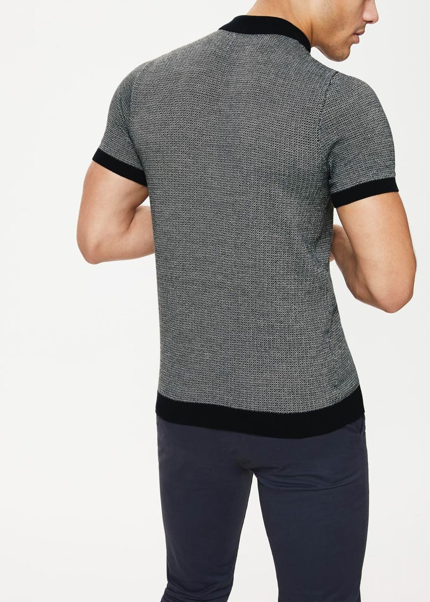 Geometric Knitted Polo Shirt