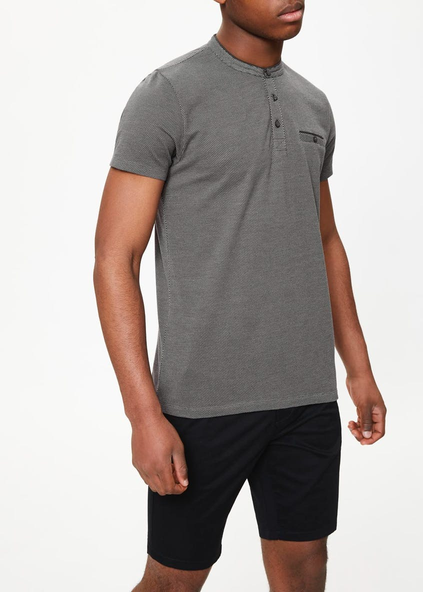 Short Sleeve Jacquard Grandad Collar Polo Shirt