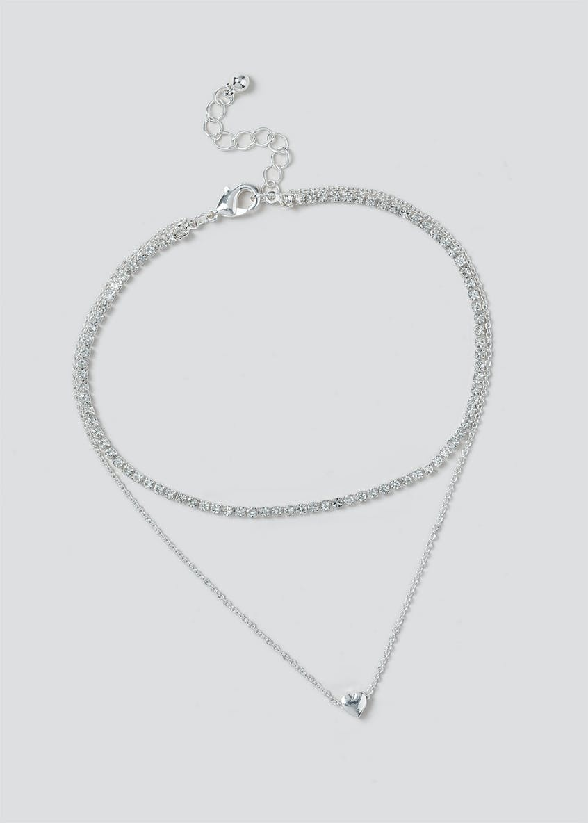 Cupchain & Heart 2 Row Anklet