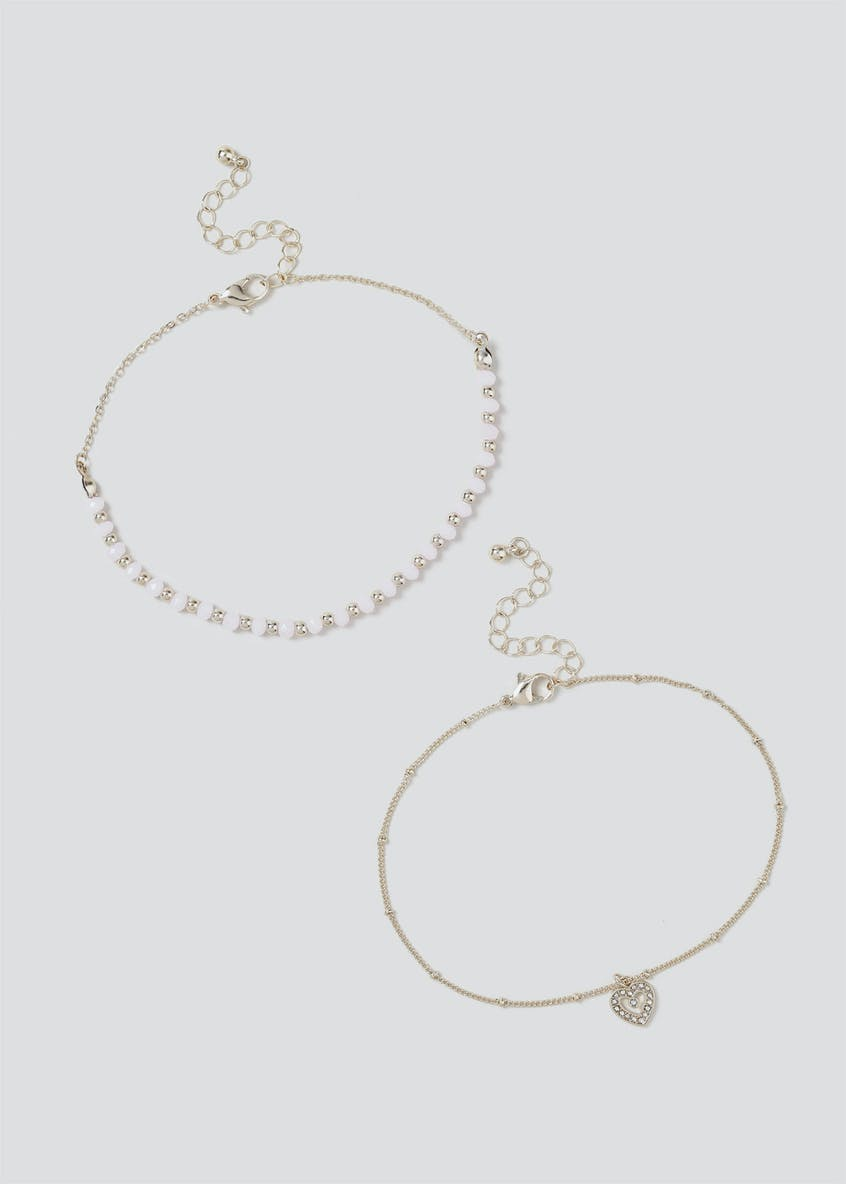 2 Pack Faceted Bead Anklets
