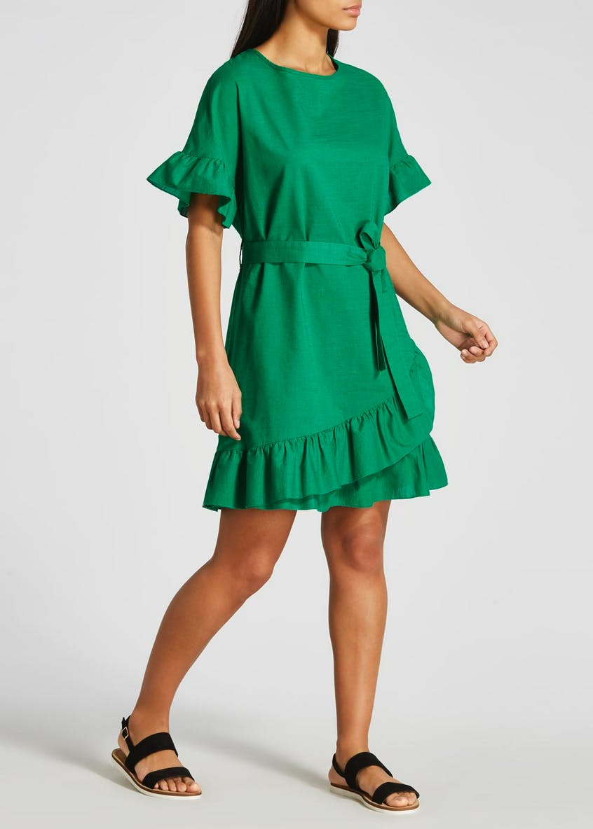 Ruffle Wrap Mini Dress