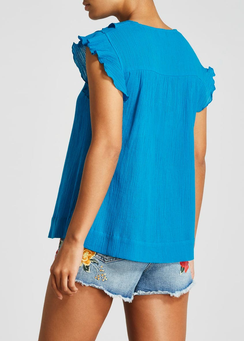 Frill Crinkle Textured Blouse