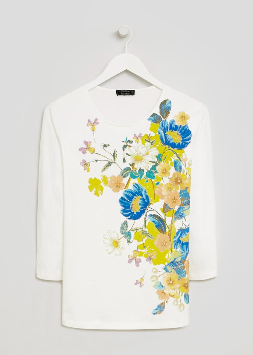 Floral Ribbed T-Shirt