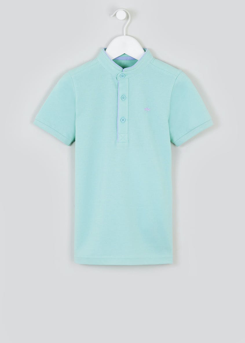 Boys Smart Grandad Collar Polo Shirt (4-13yrs)