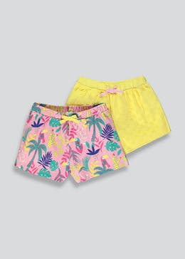 Girls 2 Pack Broderie & Palm Print Shorts (9mths-6yrs)