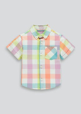 Boys Short Sleeve Pastel Check Shirt (9mths-4yrs)