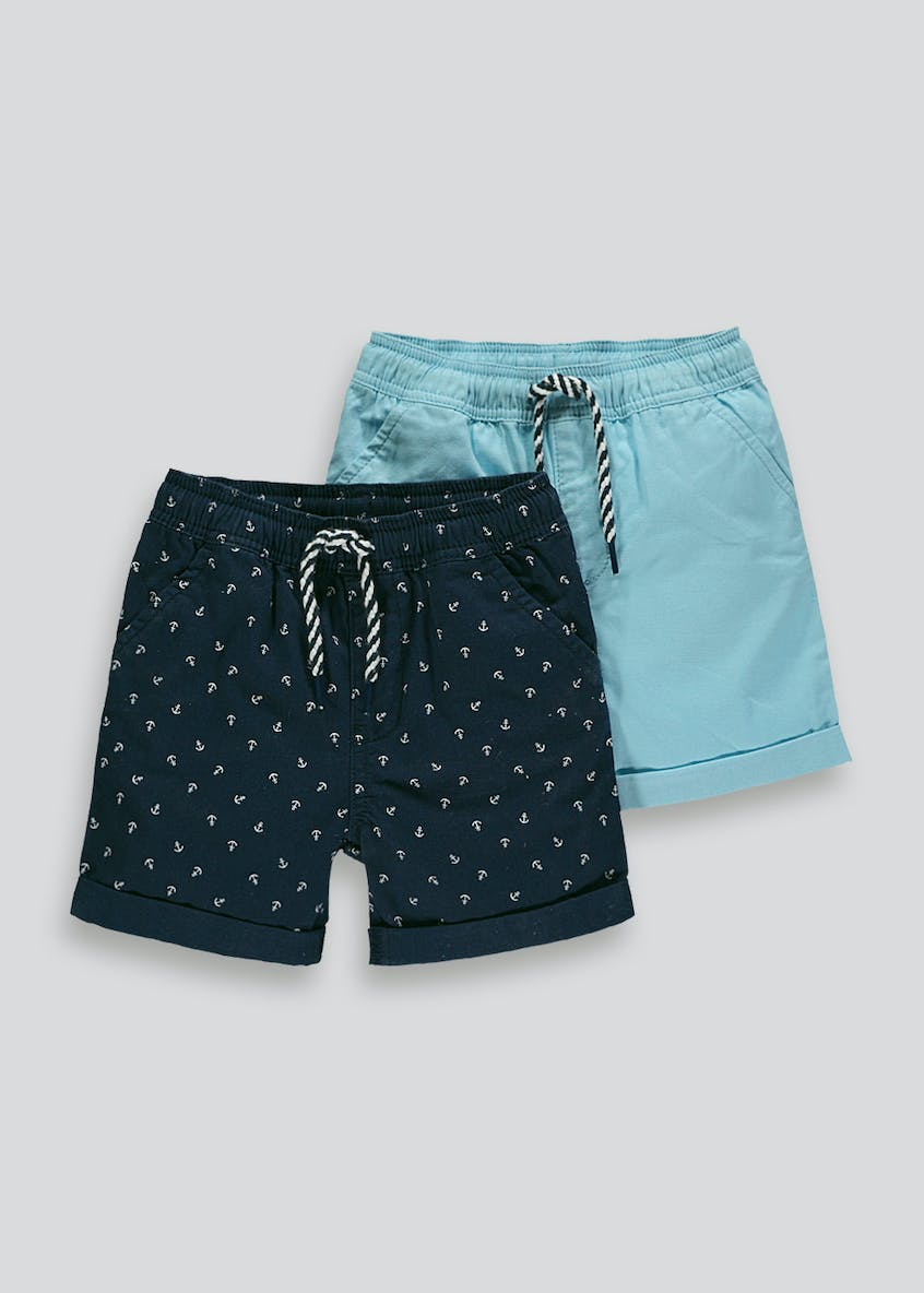Boys 2 Pack Boat Canvas Shorts (9mths-6yrs)
