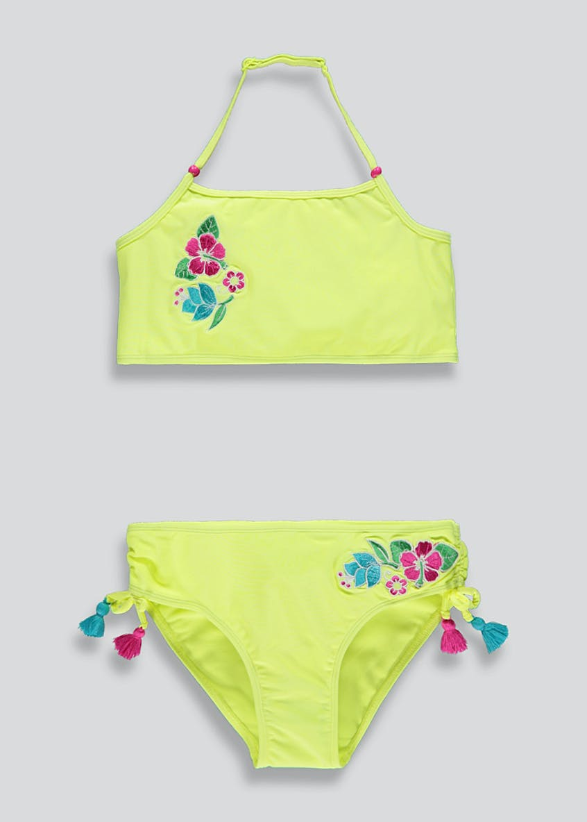 Girls Floral Embroidered Bikini Set (4-13yrs)