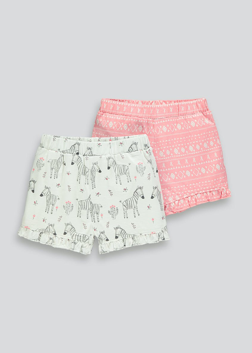 Girls 2 Pack Printed Frill Shorts (Tiny Baby-23mths)