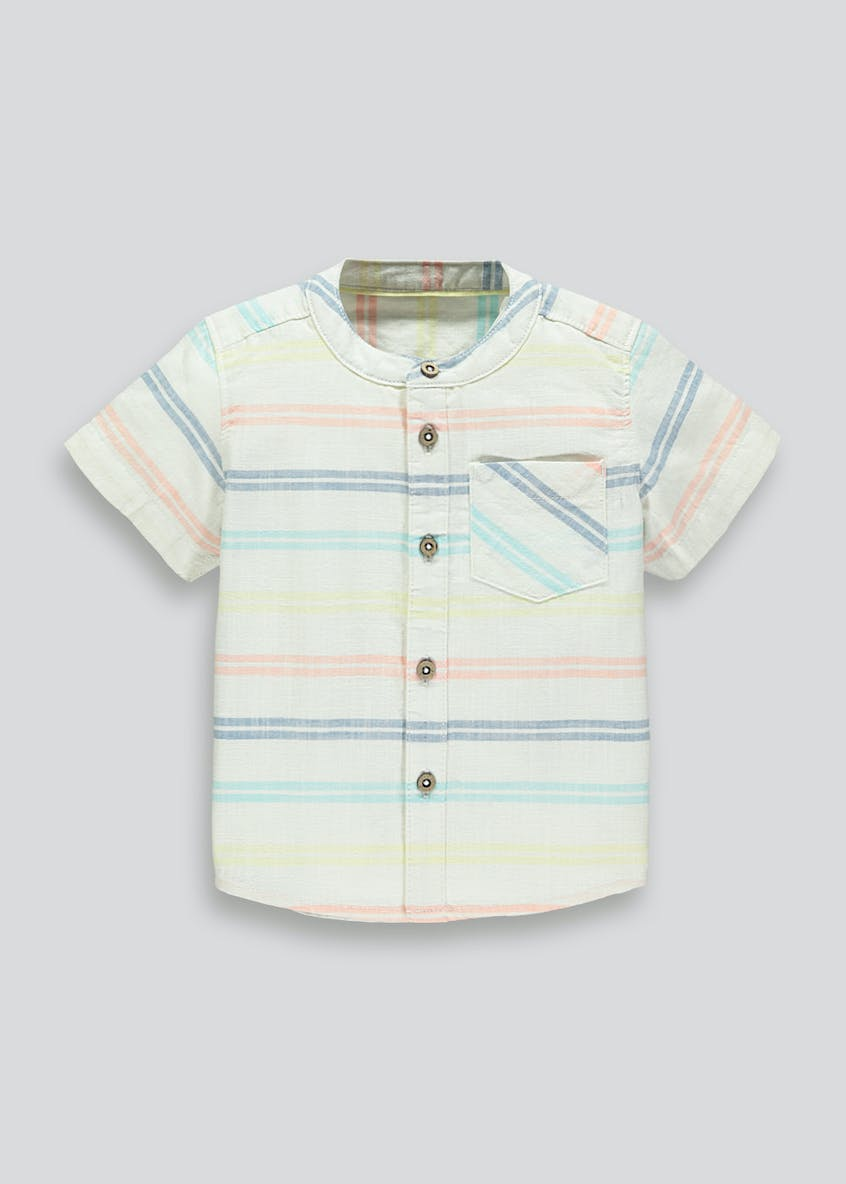 Boys Grandad Collar Stripe Shirt (9mths-5yrs)