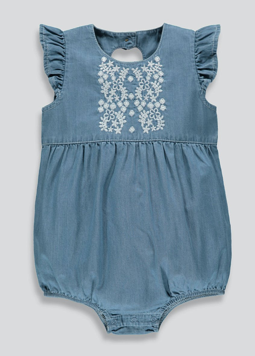 Girls Denim Effect Frill Romper (Newborn-18mths)