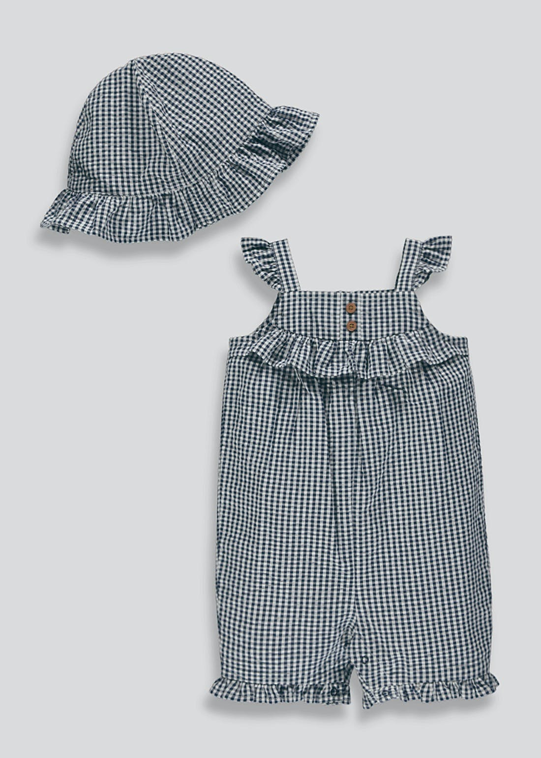 Girls Gingham Romper & Hat Set (Newborn-18mths)