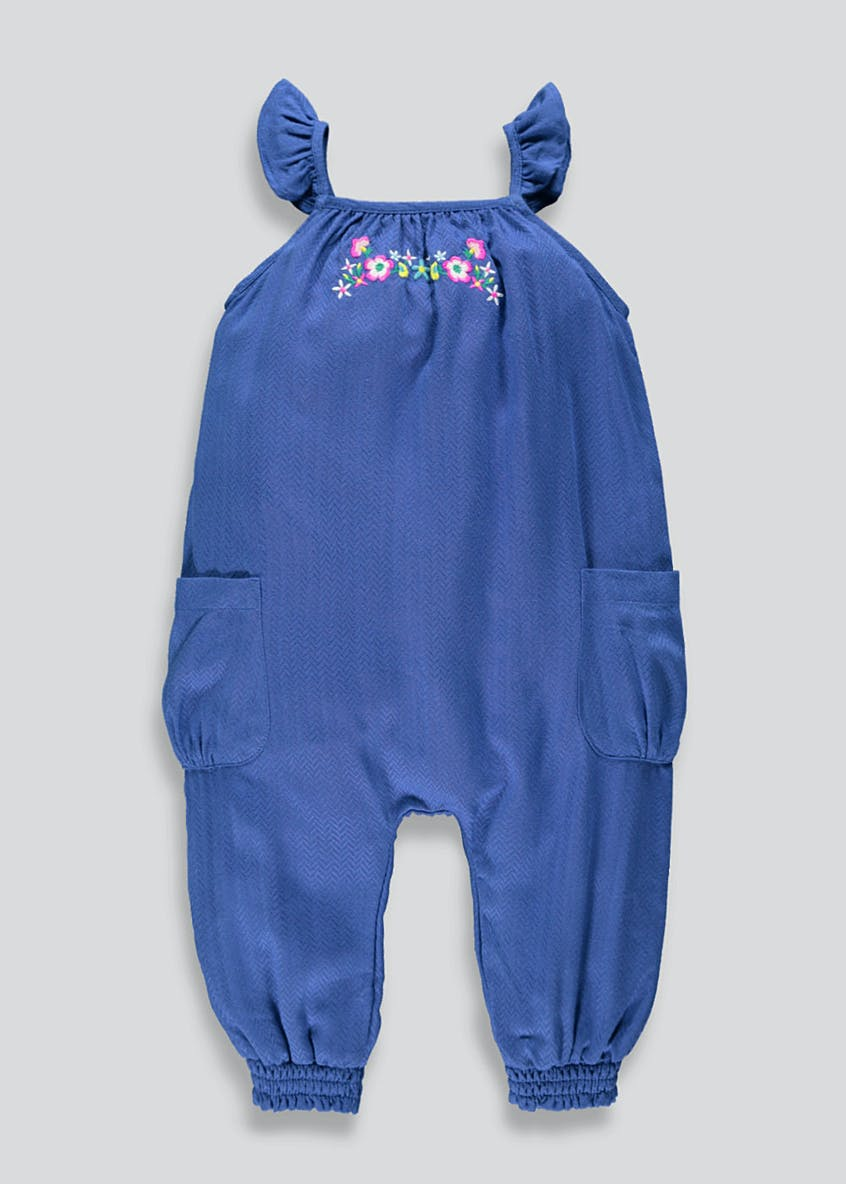Girls Woven Floral Embroidered Jumpsuit (9mths-6yrs)