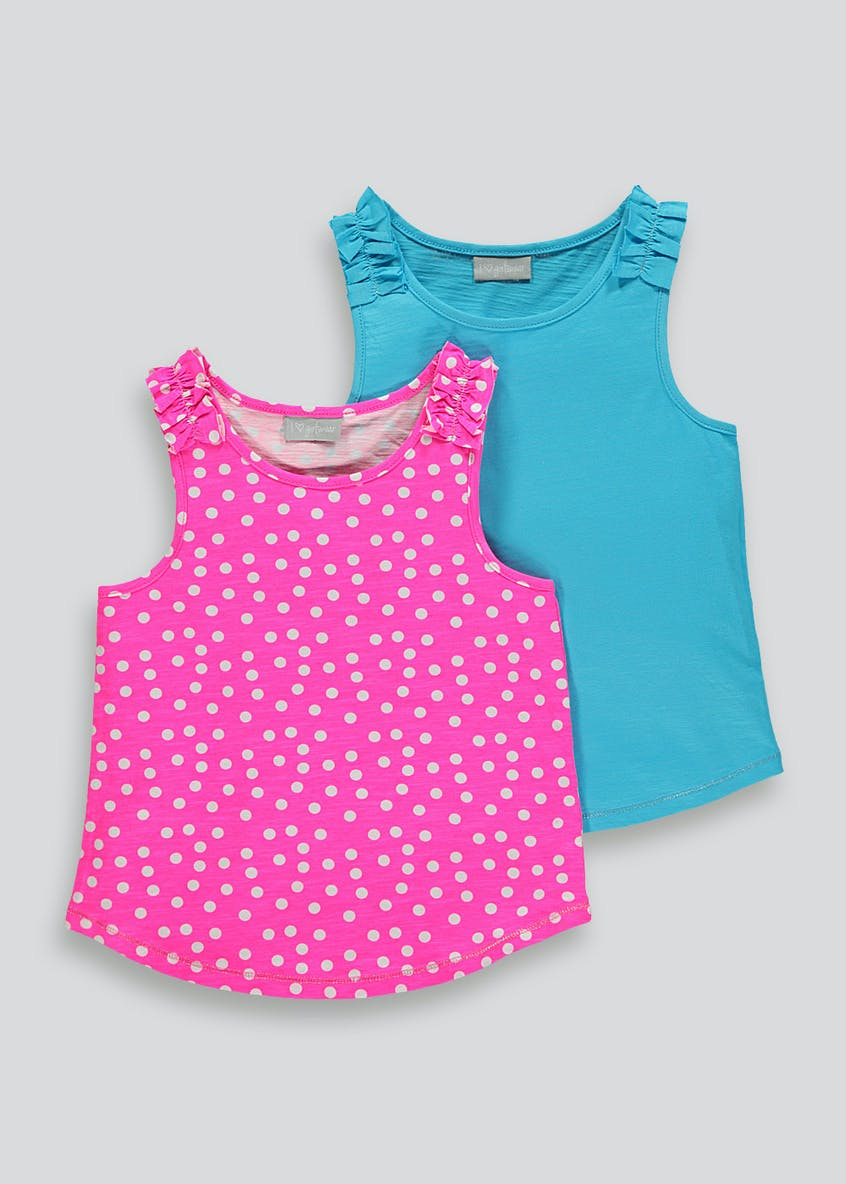 Girls 2 Pack Frill Vests (4-13yrs)