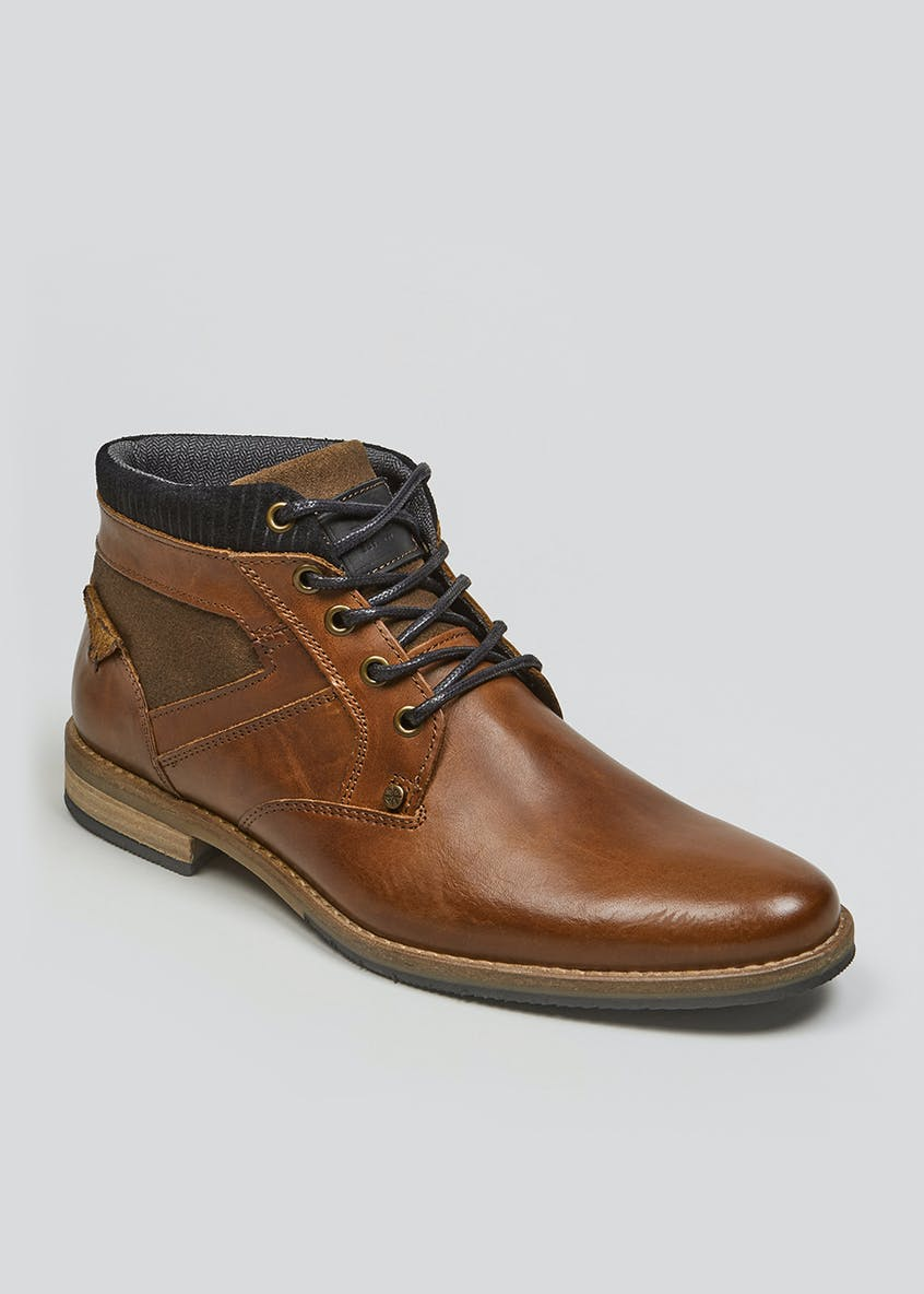 Real Leather Tab Chukka Boots