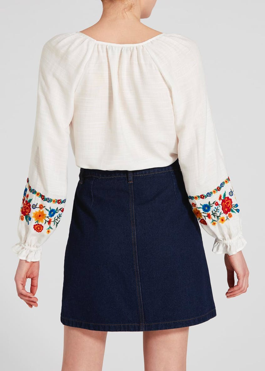 Embroidered Tassel Blouse