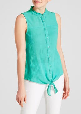 Frill Sleeveless Tie Front Blouse
