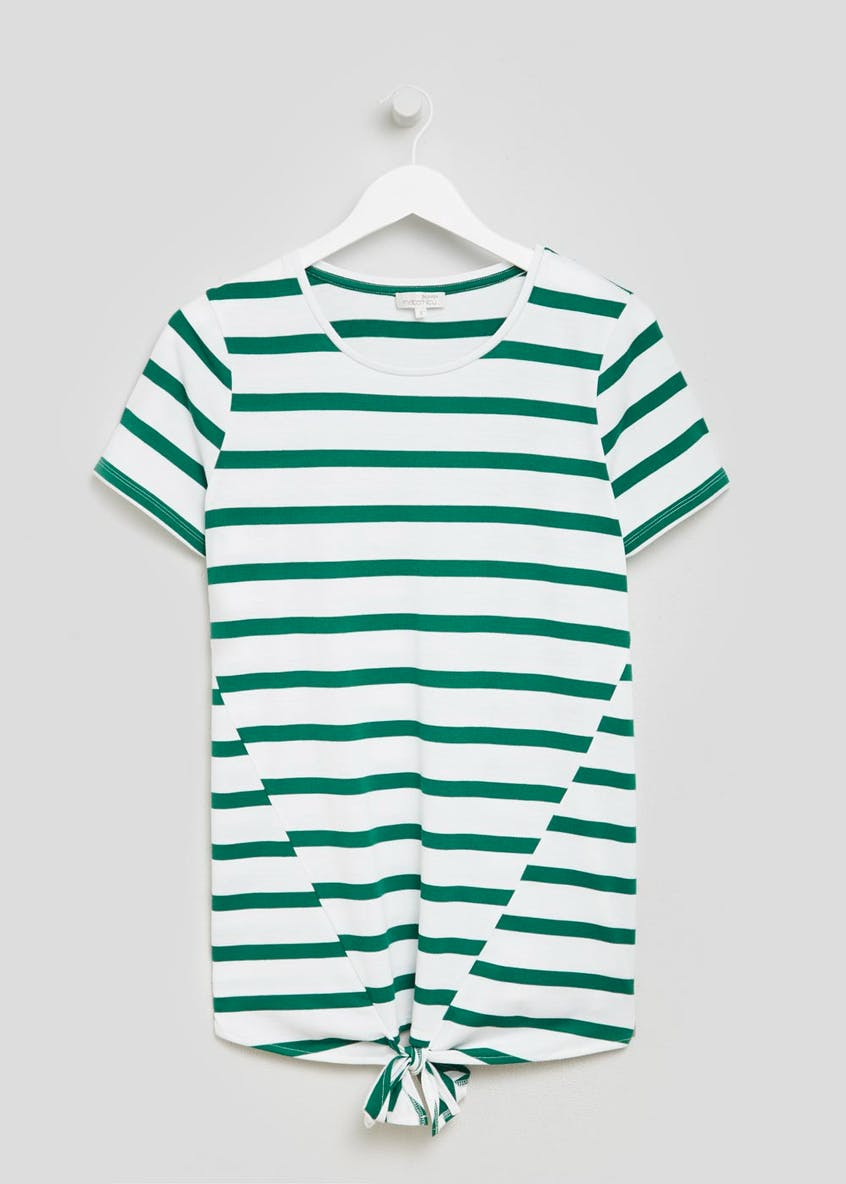 Maternity Stripe Tie Front T-Shirt