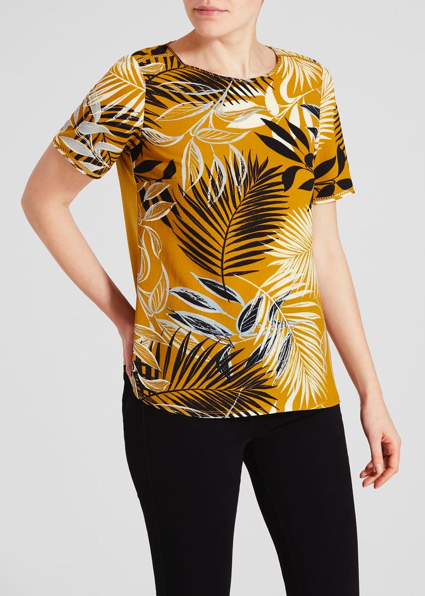 Palm Print Woven Front Top
