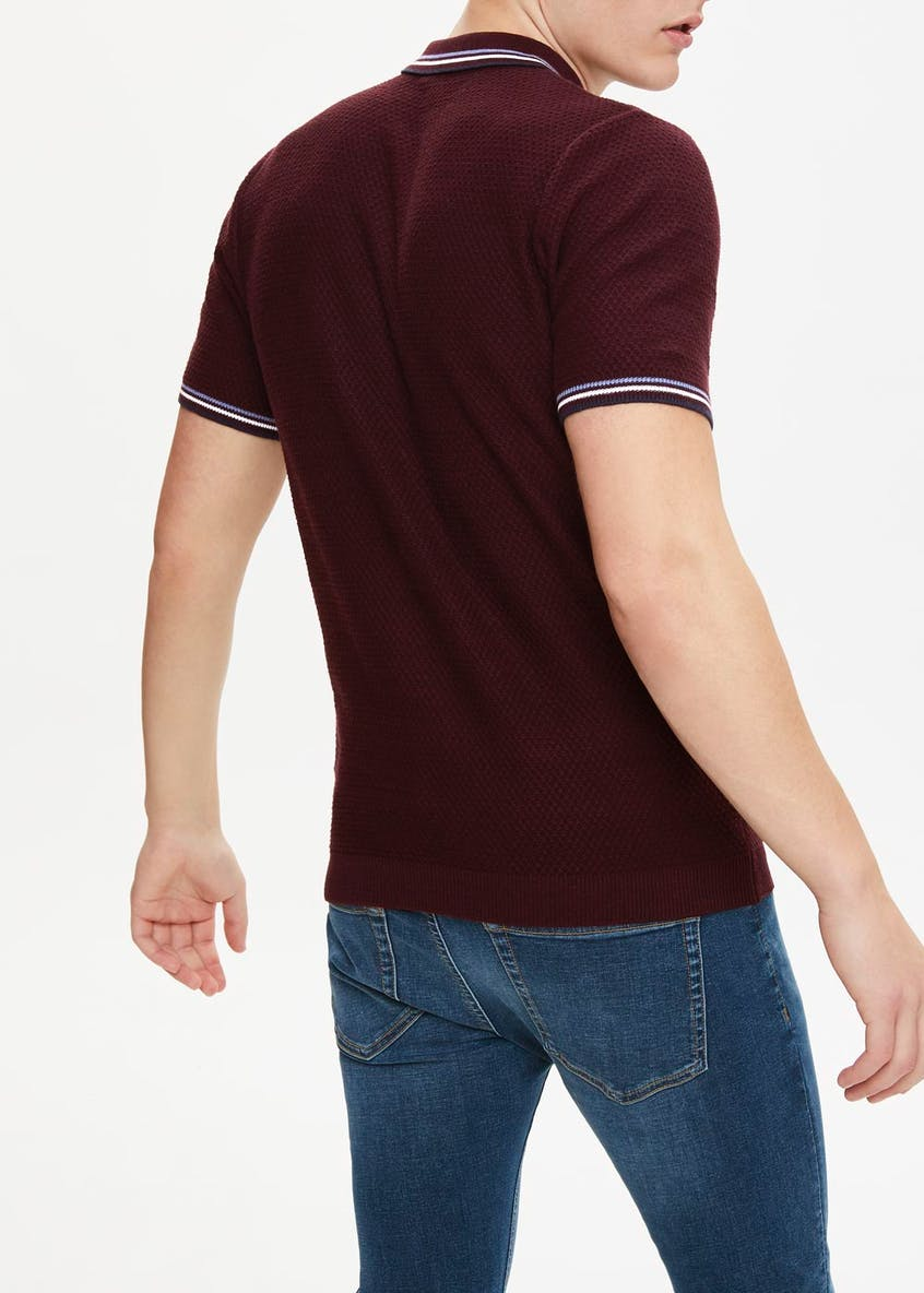 Tipped Collar Knitted Polo Shirt