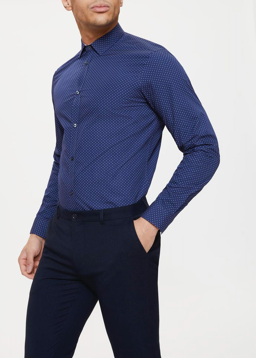 100% Cotton Slim Fit Polka Dot Shirt