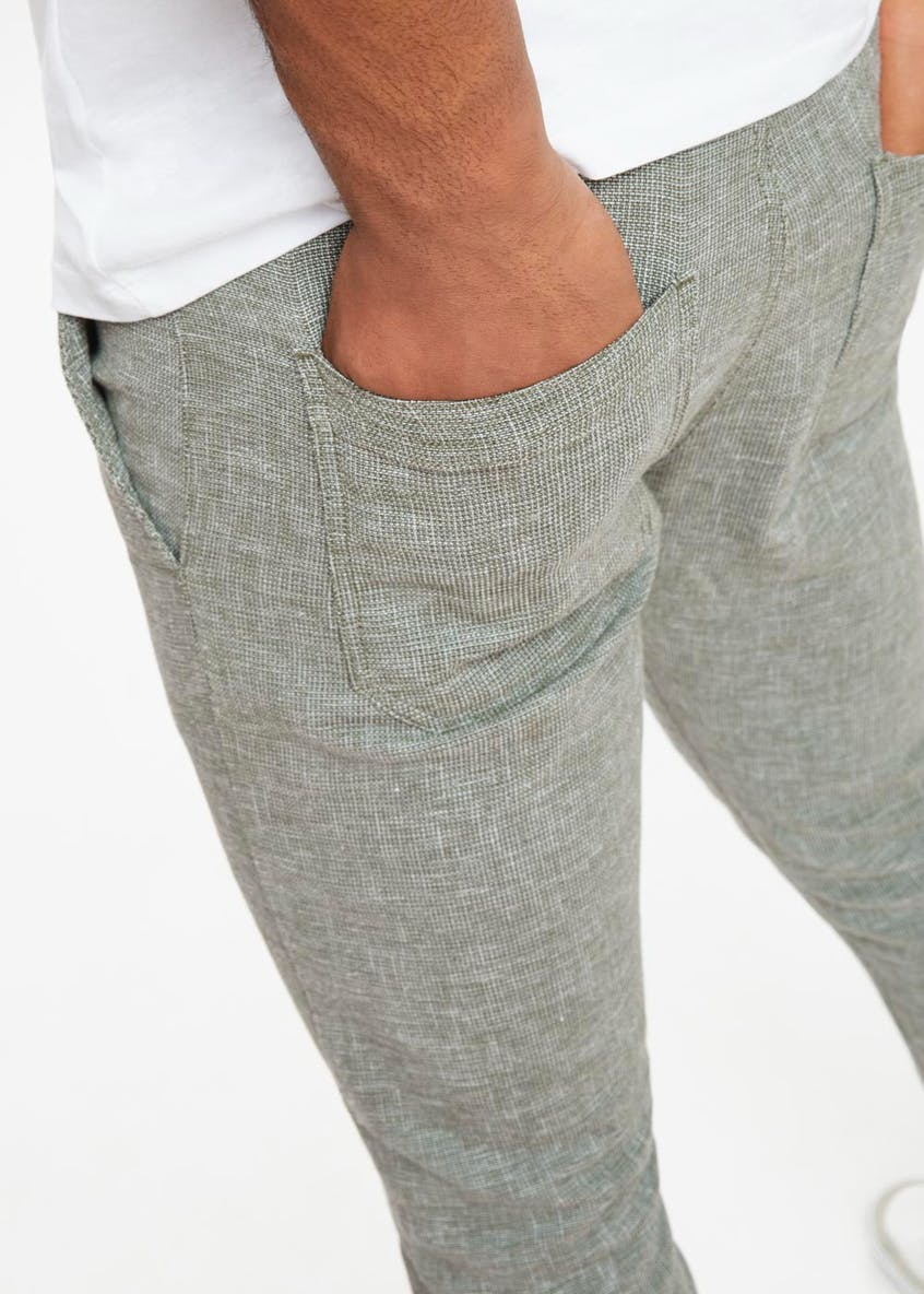 Linen Blend Textured Trousers