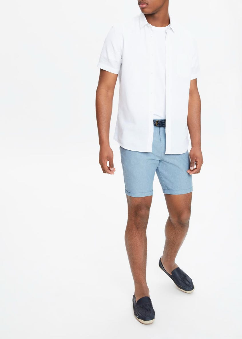 Belted Oxford Slim Fit Shorts