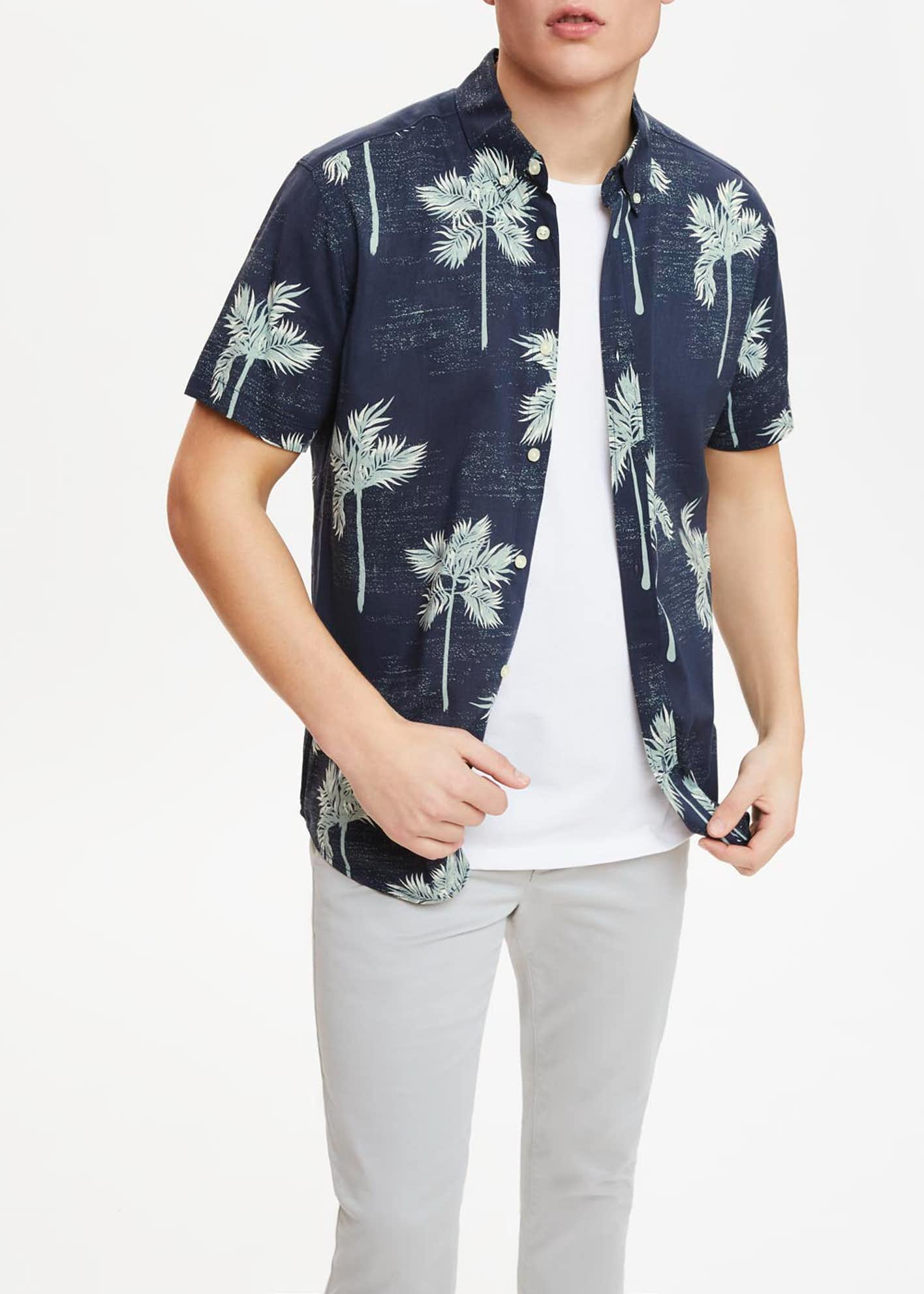 Short Sleeve Palm Print Shirt