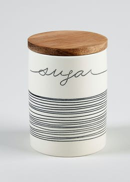Stripe Ceramic Sugar Jar (14cm x 10cm)