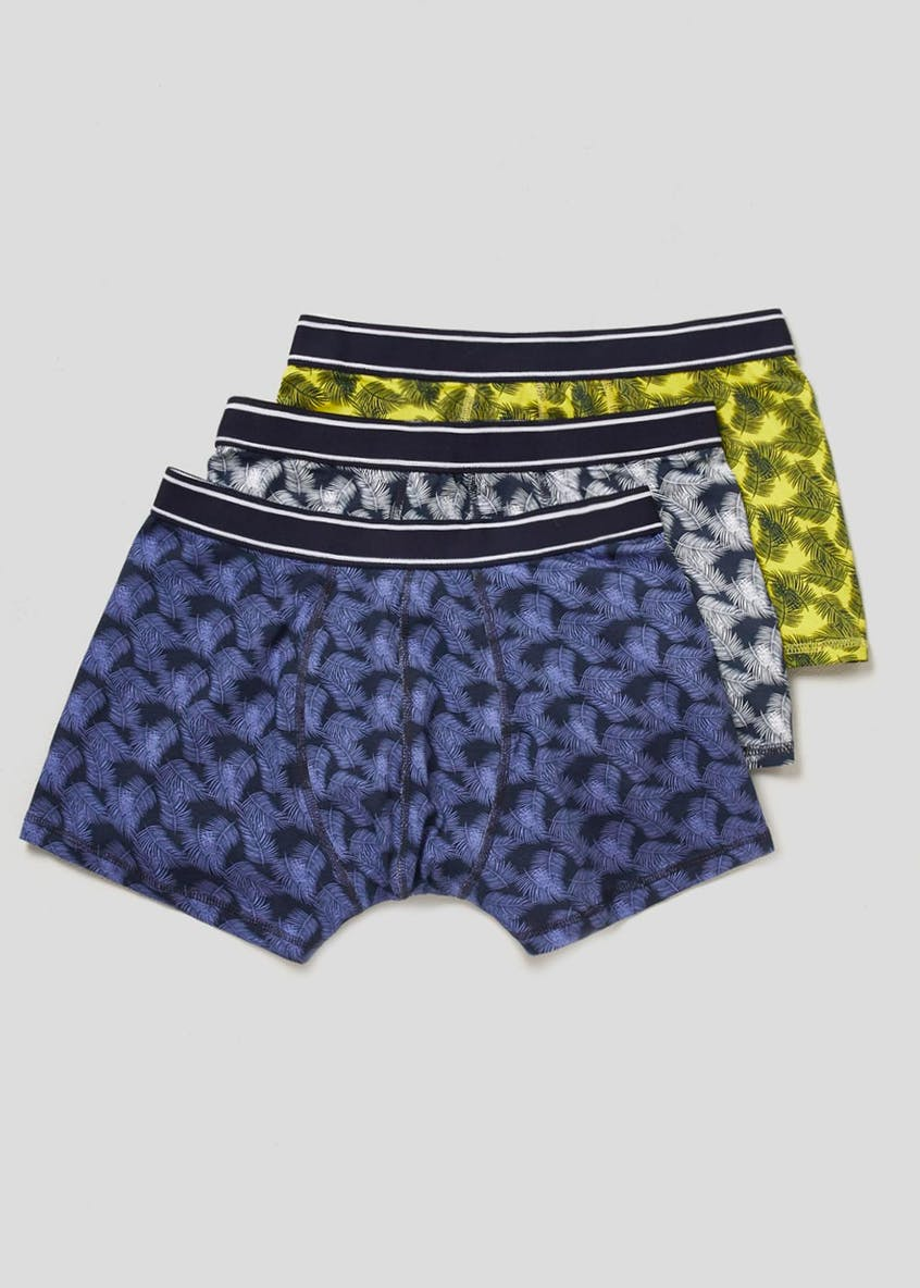3 Pack Tropical Leaf Print Hipster Boxers