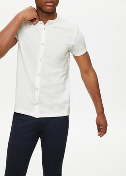 Grandad Neck Ribbed Polo Shirt