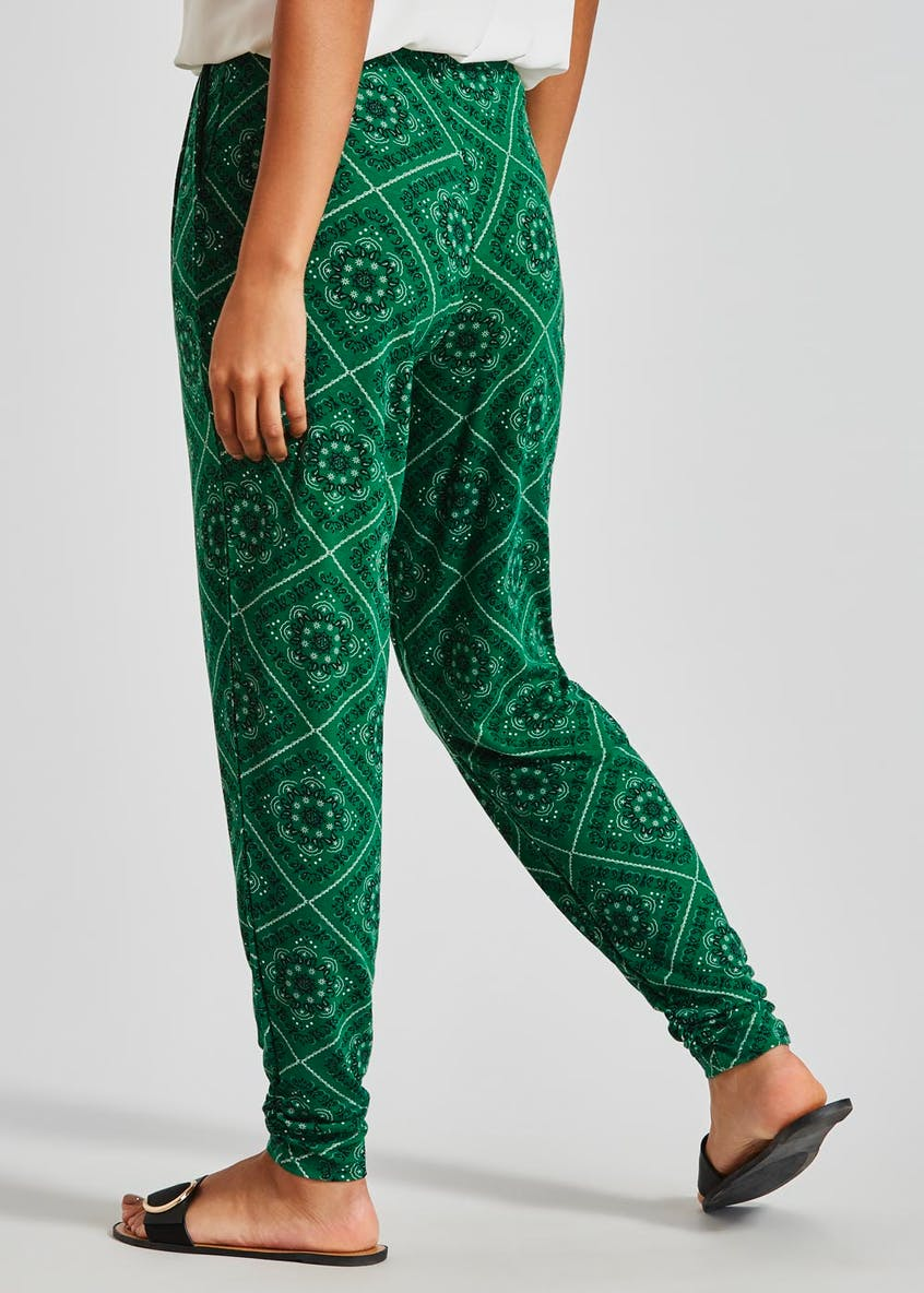 Scarf Print Tapered Harem Trousers