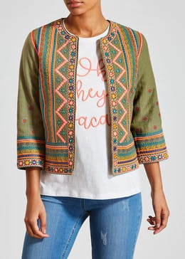 5c92ec0a14 Falmer Festival Embroidered Cropped Jacket