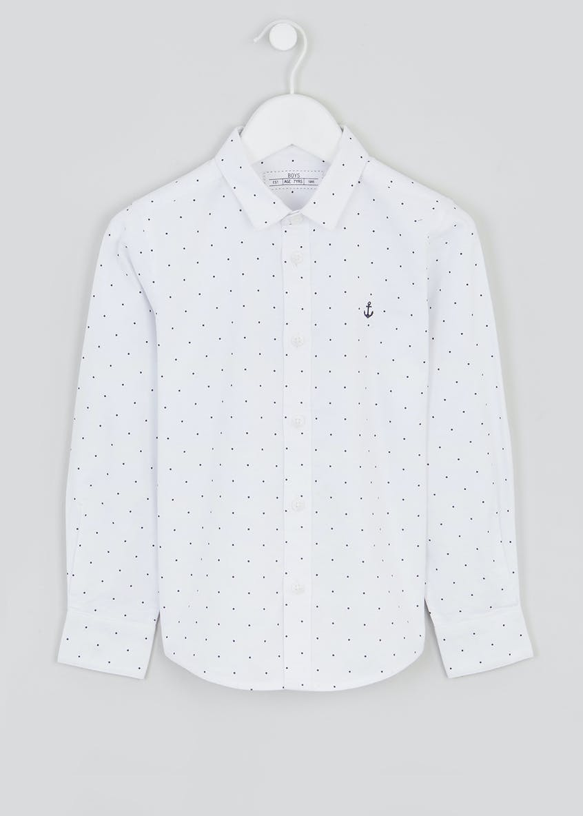Boys Long Sleeve Spot Oxford Shirt (4-13yrs)