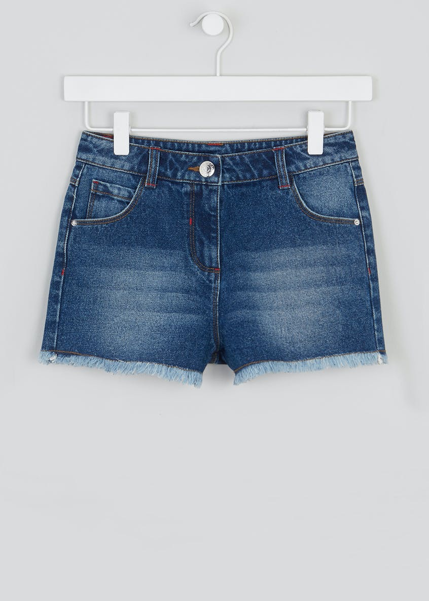 Girls Candy Couture Distressed Hem Denim Shorts (9-16yrs)