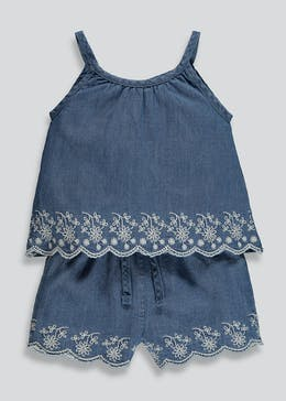 88d19c05bd1 Girls Embroidered Denim Cami   Shorts Set (9mths-6yrs)