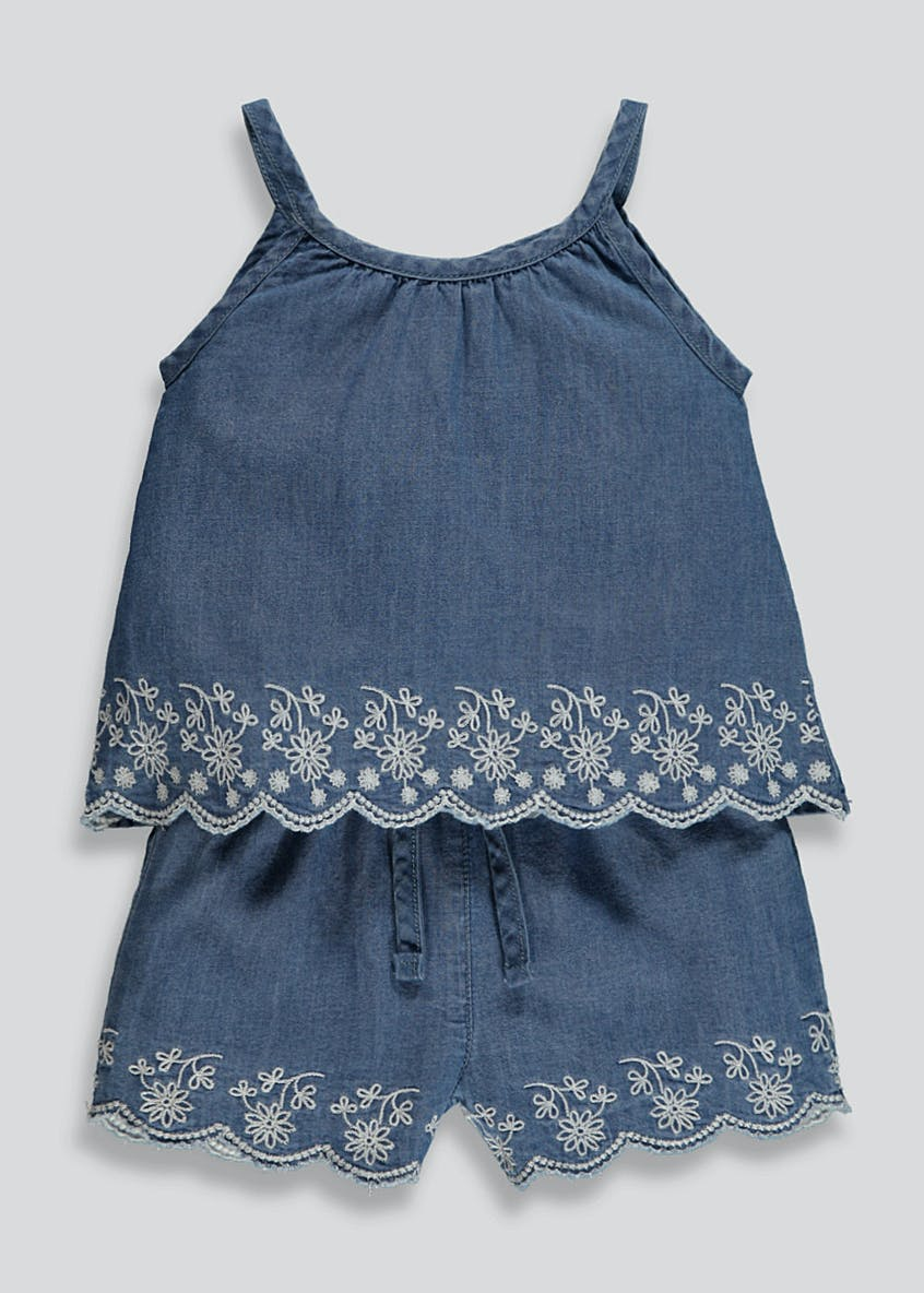 Girls Embroidered Denim Cami & Shorts Set (9mths-6yrs)