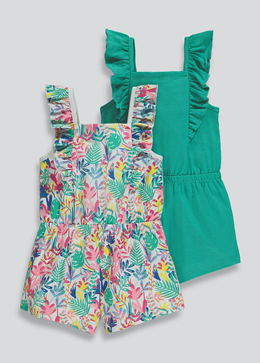 Girls 2 Pack Printed Playsuits (9mths-6yrs)