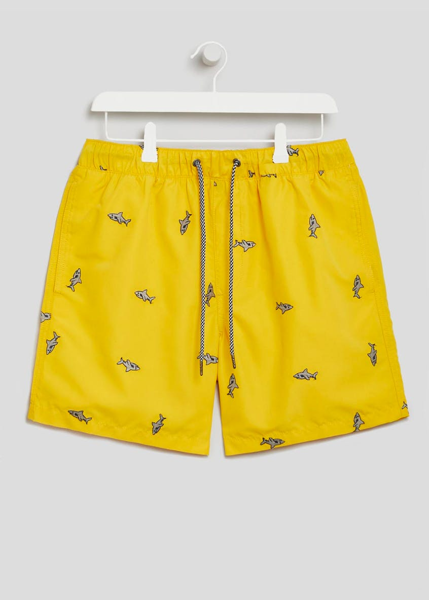 Shark Embroidered Swim Shorts
